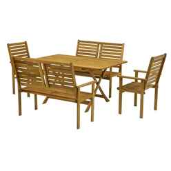 6 Seater Napoli Bench Dining Set with Napoli Table, 2 Benches and 2 Armchairs - Free Next Working Day Delivery (Mon-Fri)