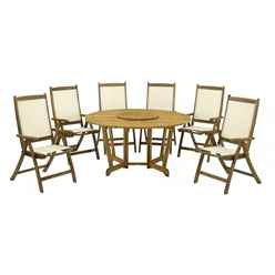 6 Seater Henley Round Dining Set with Henley Table, Lazy Susan & 6 Henley Recliner Chairs - Free Next Working Day Delivery (Mon-Fri)
