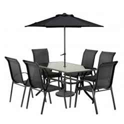 6 Seater Set Black Cayman with FREE Parasol - Free Next Working Day Delivery (Mon-Fri)