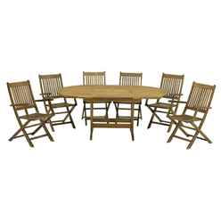 6 Seater Turnbury Dining Set with a Rectangular Extension Table & 6 Manhattan Folding Armchairs