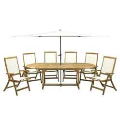 6 Seater Hampton Dining Set with Oval 2 Leaf Extension Table & 6 St Tropez Folding Armchairs & Parasol - Free Next Working Day Delivery (Mon-Fri)