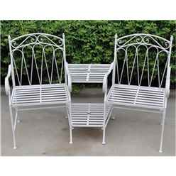 2 Seater - Antique White Love Seat - Free Next Working Day Delivery (Mon-Fri)