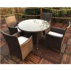 Naples 4 Seater Round Dining Set - 110cm Round Glass Top Table with 4 Carver Chairs incl. cushions - Free Next Working Day Delivery (Mon-Fri)