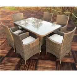 NAPLES 6 Seater Rectangular  Dining Set -  150 x 90cm Glass Top Table with 6 Carver Chairs incl. cushions - Free Next Working Day Delivery (Mon-Fri)