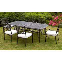 6 Seater Versailles Rectangular Set - 214 x 108cm Rectangular Table with 6 Stacking Chairs incl. cushions - Free Next Working Day Delivery (Mon-Fri)