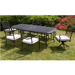 6 Seater Versailles Rectangular Swivel Set - 214cm x 108cm Rectangular Table with 2 Swivel Chairs and 4 Stacking Chairs incl. cushions - Free Next Working Day Delivery (Mon-Fri)