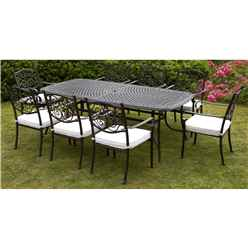 8 Seater Versailles Rectangular Set - 214 x 108cm Rectangular Table with 8 Stacking Chairs incl. cushion - Free Next Working Day Delivery (Mon-Fri)