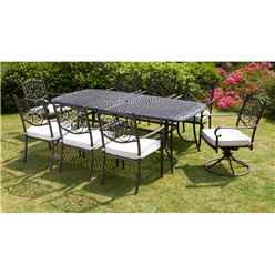 8 Seater Versailles Rectangular Swivel Set - 214 x 108cm Rectangular Table with 2 Swivel Chairs and 6 Stacking Chairs incl. cushions - Free Next Working Day Delivery (Mon-Fri)