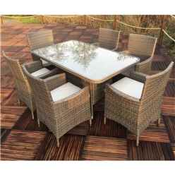6 Seater MARLOW Rectangular  Dining Set - 150cm x 90cm Glass Top Table with 6  Carver Chairs incl. cushions
