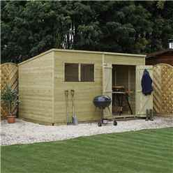 INSTALLED 12 x 7 Oxford Pressure Treated Shiplap Pent Shed - INCLUDES INSTALLATION