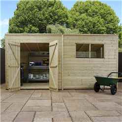 INSTALLED 14 x 5 (4.26m x 1.40m) Oxford Pressure Treated Shiplap Pent Shed - INCLUDES INSTALLATION