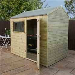 INSTALLED 8 x 6 Pressure Treated Tongue and Groove Reverse Apex Shed - INCLUDES INSTALLATION