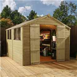 INSTALLED 12 x 8 (3.60m x 2.50m) Pressure Treated Tongue and Groove Apex Shed - INCLUDES INSTALLATION