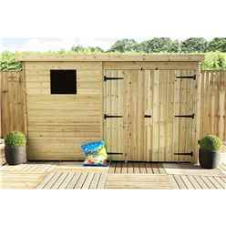10FT x 8FT Pressure Treated Tongue & Groove Pent Shed + Double Doors + 1 Window + Safety Toughened Glass