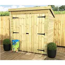 INSTALLED 6FT x 5FT Windowless Pressure Treated Tongue & Groove Pent Shed + Double Doors - INCLUDES INSTALLATION