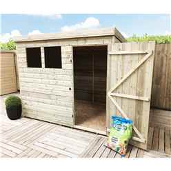 INSTALLED 7FT x 3FT Pressure Treated Tongue & Groove Pent Shed + 2 Windows + Safety Toughened Glass + Single Door - INCLUDES INSTALLATION