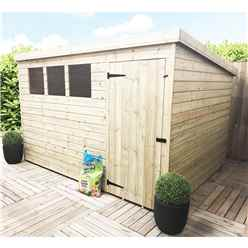 INSTALLED 10FT x 4FT Pressure Treated Tongue & Groove Pent Shed + 3 Windows + Safety Toughened Glass + Single Door - INCLUDES INSTALLATION