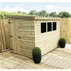 INSTALLED 9FT x 4FT Reverse Pressure Treated Tongue & Groove Pent Shed + 3 Windows + Safety Toughened Glass + Single Door (Please Select Left Or Right Panel for Door) - INCLUDES INSTALLATION