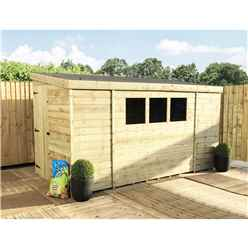 INSTALLED 14FT x 5FT Reverse Pressure Treated Tongue & Groove Pent Shed + 3 Windows + Safety Toughened Glass + Single Door (Please Select Left Or Right Panel for Door) - INCLUDES INSTALLATION