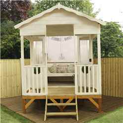 INSTALLED 8ft x 10ft (2.36m x 3.28m) Beach Hut Summerhouse (12mm T&G Floor & Roof) INCLUDES INSTALLATION