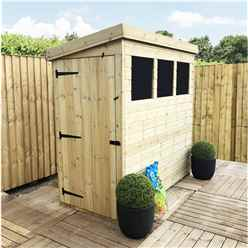 7FT x 3FT Pressure Treated Tongue And Groove Pent Shed With 3 Windows And Side Door + Safety Toughened Glass