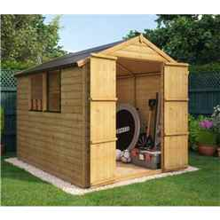 8ft x 6ft Loglap Shed with 2 Windows and Double Doors
