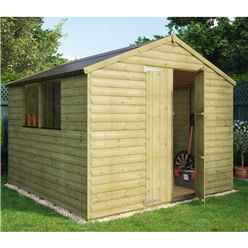 8ft x 8ft Pressure Treated Loglap Shed with 2 Windows and Double Doors