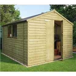 10ft x 8ft Pressure Treated Loglap Shed with 2 Windows and Double Doors