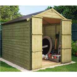 8ft x 6ft Pressure Treated Loglap Windowless Shed with Double Doors