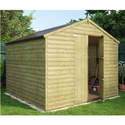 8ft x 8ft Pressure Treated Loglap Windowless Shed with Double Doors