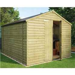 10ft x 8ft Pressure Treated Loglap Windowless Shed With Double Doors