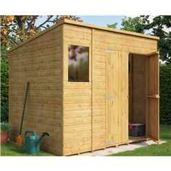 8ft x 6ft  Shiplap Pent Shed With Double Doors and 1 Window
