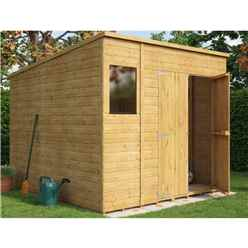 8ft x 8ft  Shiplap Pent Shed With Double Doors and 1 Window