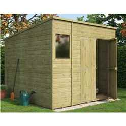 8ft x 8ft  Pressure Treated Shiplap Pent Shed With Double Doors and 1 Window