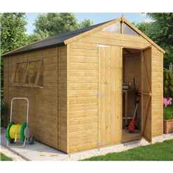 10ft x 8ft Hobbyist Tongue and Groove Shed with 2 Opening Windows and Double Doors