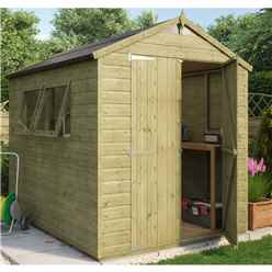 8ft x 6ft Pressure Treated Hobbyist Shed with 2 Opening Windows and Double Doors