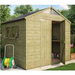 8ft x 8ft Pressure Treated Hobbyist Tongue and Groove Shed with 2 Opening Windows and Double Doors