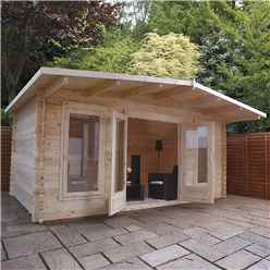 5m x 3m Woburn Log Cabin (Double Glazing) + Free Floor & Felt & Safety Glass (34mm Tongue and Groove Logs)