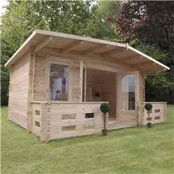 5m x 3m Woburn Log Cabin With Veranda (Double Glazing) + Free Floor & Felt & Safety Glass (34mm Tongue and Groove Logs)