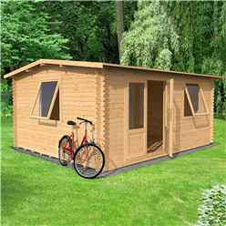 5.8m x 5m Vermon Log Cabin (Double Glazing) + Free Floor & Felt & Safety Glass (44mm Tongue and Groove Logs)