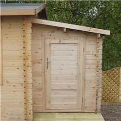 2.24m x 1.62m Log Cabin Side Shed + Free Floor (19mm Tongue and Groove Logs)