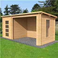 *DISCO 2/1/19* 5.4m x 2.5m Pent Log Cabin with Open Space - Single Glazing (34mm Tongue and Groove Logs)