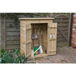 Pressure Treated Overlap Pent Garden Store With Double Doors (132 x 108 x 55cm)