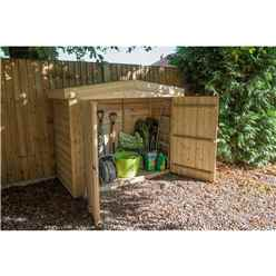 Pressure Treated Overlap Apex Large Outdoor Store With Tongue and Groove Front Panel and Doors (152 x 198 x 81 cm)
