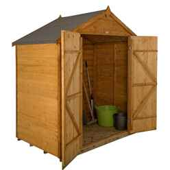 4ft x 6ft (1.2m x 1.9m) Windowless Overlap Dip Treated Apex Shed With Double Doors