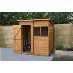 INSTALLED 6ft x 4ft (1.8m x 1.3m) Overlap Dip Treated Pent Shed With Single Door and 1 Window