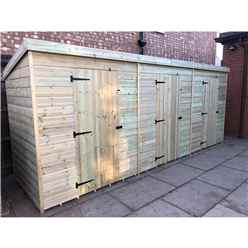 Bespoke 16ft x 4ft Premier Pressure Treated Tongue And Groove Pent Storage Shed - 3 Separate Units with Internal Walls