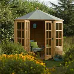 INSTALLED Ryton 8ft x 8ft  Octagonal Rowlinson Summerhouse (T&G Floor) INCLUDES INSTALLATION