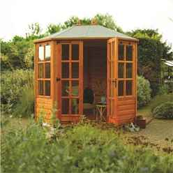 INSTALLED Ryton 8ft x 6ft Octagonal Rowlinson Summerhouse (T&G Floor) INCLUDES INSTALLATION