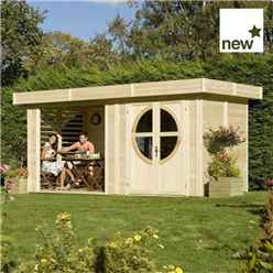 INSTALLED 4.88m x 2.4m Connor Unpainted Log Cabin (19mm Tongue & Groove) INCLUDES INSTALLATION